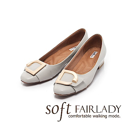 Fair Lady Soft芯太軟 金屬飾扣拼帶方頭低跟鞋 經典灰