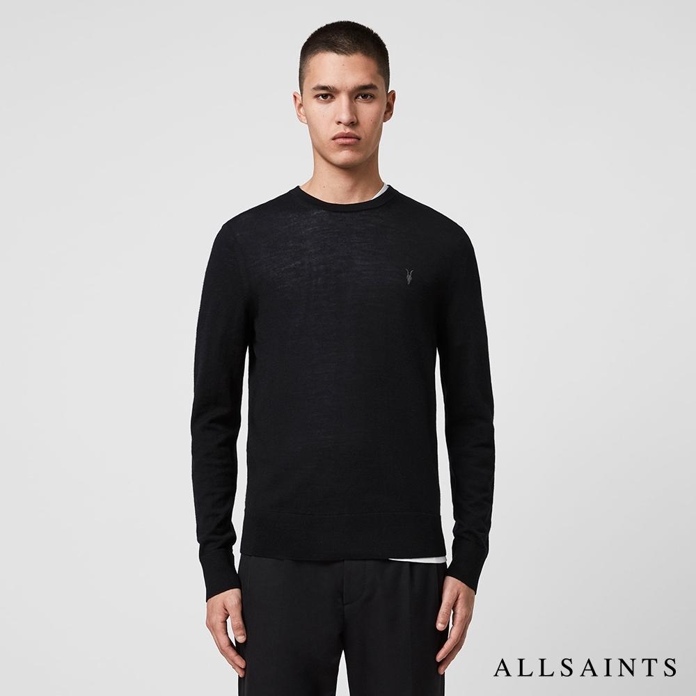 ALLSAINTS MODE MERINO 公羊頭骨刺繡修身純羊毛針織上衣-黑