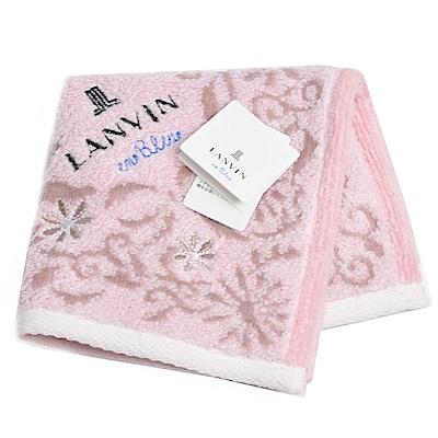 LANVIN en bleu 小花圖騰品牌字母LOGO刺繡小方巾(粉紅系)