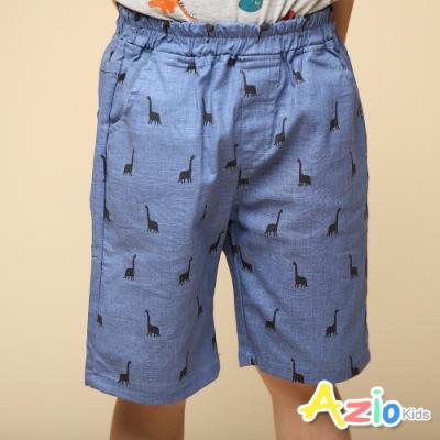 Azio Kids 男童 短褲 滿版腕龍剪影休閒短褲(藍)