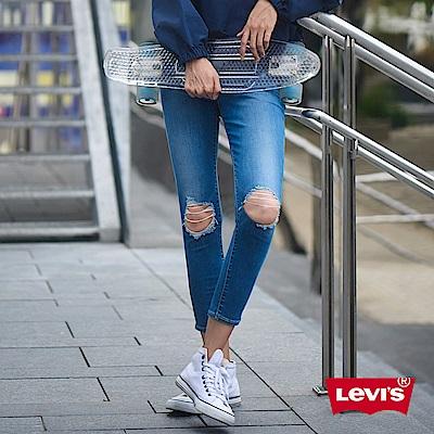 Levis 女款 711 中腰緊身窄管牛仔長褲 亞洲版型 刷破