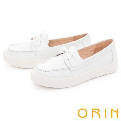 ORIN 真皮縫線綁帶厚底 女 休閒鞋 白色