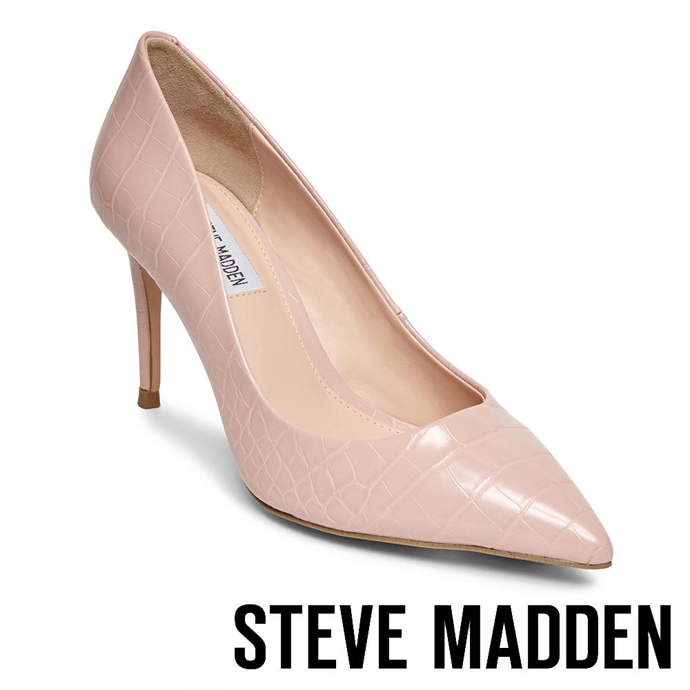 STEVE MADDEN-LILLIE 極美型素面尖頭高跟鞋-蛇紋粉