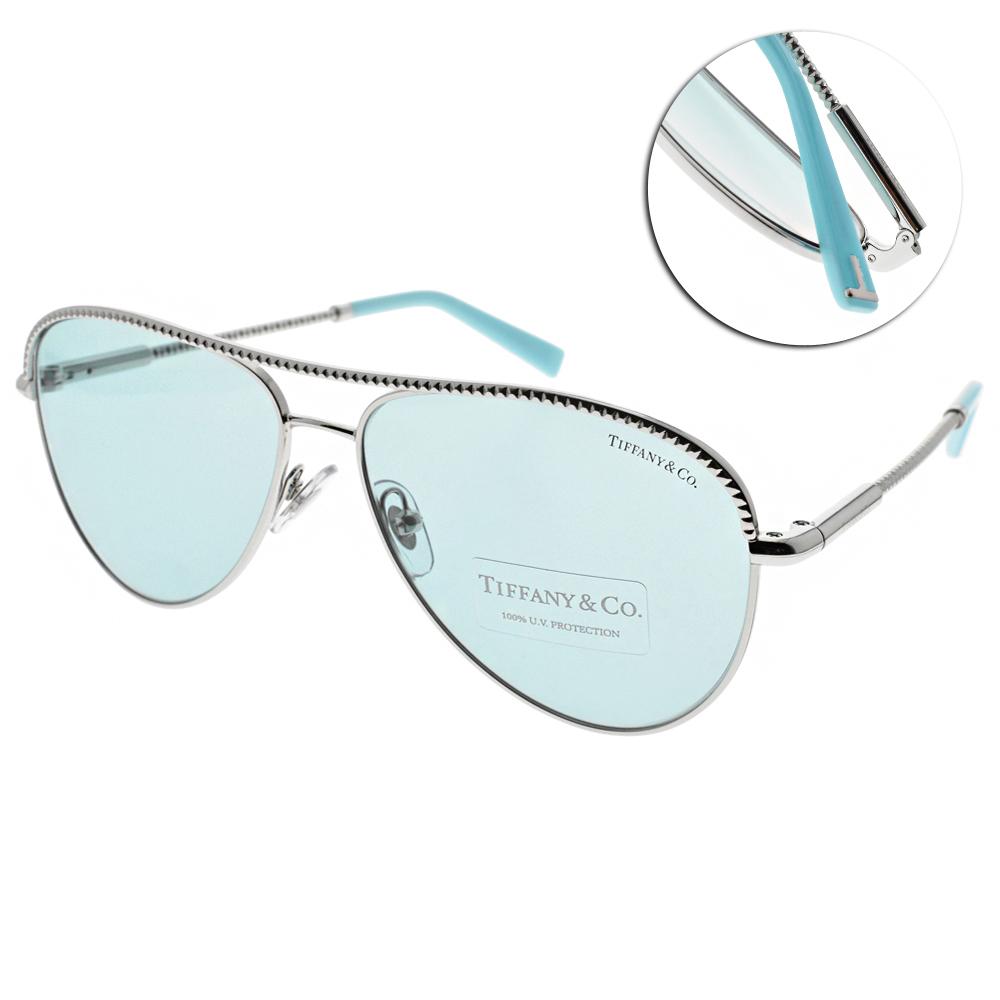 Tiffany&CO.太陽眼鏡 典雅飛官款/銀-淺藍 #TF3062 6136D9