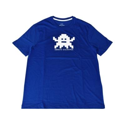A│X Armani Exchange經典壓印字母LOGO遊戲圖形設計純棉短袖T恤(S/藍x白)