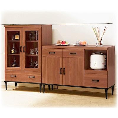 D&T德泰傢俱 愛克斯工業生活6.6L碗盤櫃+展示櫃-200x40x122cm