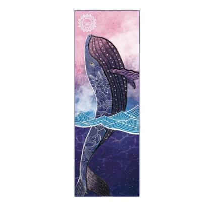 LOTUS 瑜珈舖巾 台灣製乾溼止滑專業加寬加長防滑膠粒瑜珈舖巾 神海藍鯨
