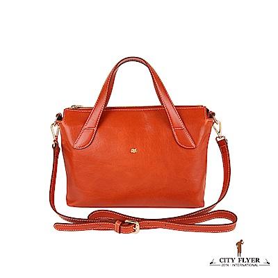 CITY FLYER 城市旅者 義大利植鞣牛皮系列斜側背拉鏈雙隔層手提包-橘色