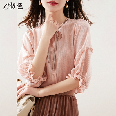 初色  公主袖繫帶襯衫-粉紅色-(M-2XL可選)