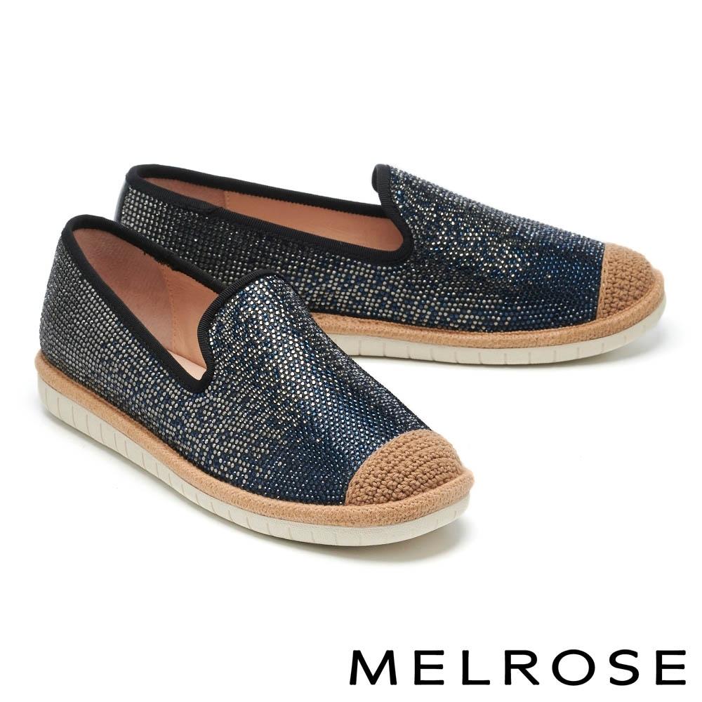 休閒鞋 MELROSE 奢華時尚水鑽金蔥造型厚底休閒鞋-黑
