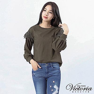 Victoria 袖接刺繡蕾絲寬鬆長袖-女-軍綠