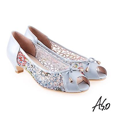 A.S.O 炫麗魅惑  全真皮蕾絲網紗魚口楔型鞋淺藍