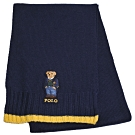 RALPH LAUREN POLO 小熊LOGO刺繡混羊毛圍巾(深藍色)