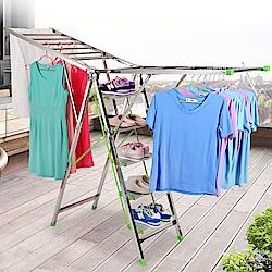 【日居良品】不鏽鋼可折疊多功能2用型樓梯曬衣梯(鋁合金踏板+不銹鋼梯身