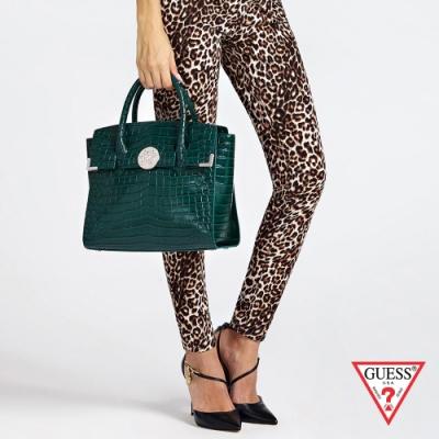 GUESS-女包-鱷魚皮壓紋手提肩背包-綠