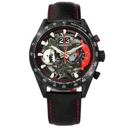 ARIES GOLD 鏤空設計 藍寶石水晶玻璃 三眼計時 壓紋真皮手錶-紅黑色/44mm