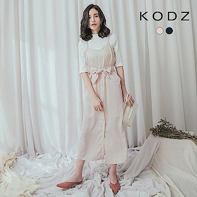 東京著衣-KODZ 知性時尚細肩排釦洋裝-S.M.L(共兩色)