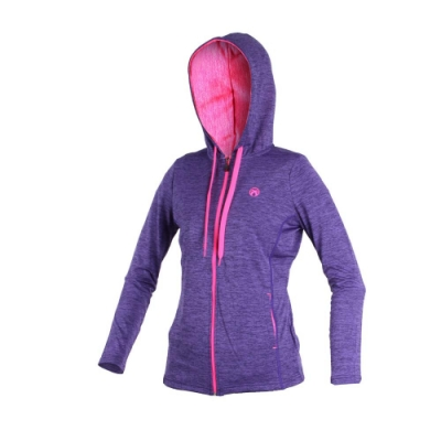 FIRESTAR 女連帽針織外套-連帽外套 慢跑 路跑 紫桃紅