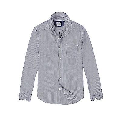 Timberland 男款靛藍色長袖條紋襯衫 | A1UPX432