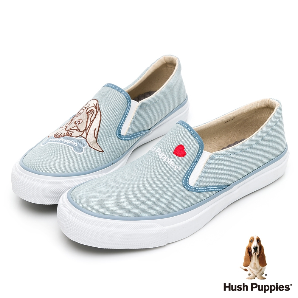 Hush Puppies 巴吉度狗Q版咖啡紗休閒便鞋-淺藍
