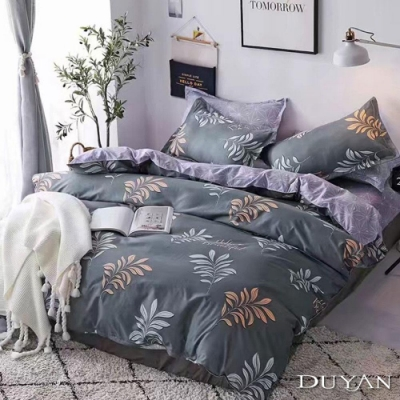 DUYAN竹漾 MIT 天絲絨-雙人加大床包枕套三件組-晨光桂葉
