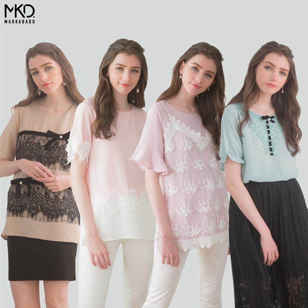 CorpoX & MARKABADU 女款拼接蕾絲上衣-4件組