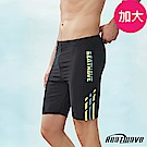 Heatwave熱浪 加大男泳褲 五分平口褲-乘風黑(M-3XL)