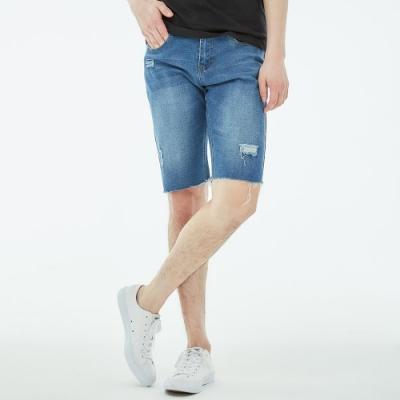 101原創 磨破刀割水洗刷色牛仔短褲-淺丹寧-男