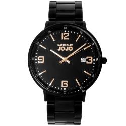 NATURALLY JOJO 簡約藍寶石時尚手錶-黑X玫瑰金/41mm
