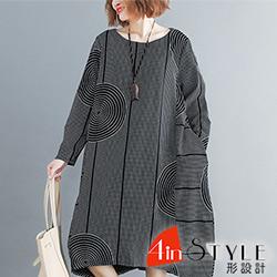 圓領線條圖形寬版長袖洋裝 (黑色)-4inSTYLE形設計
