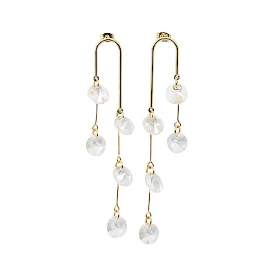 Prisme美國時尚飾品 晨露光透水晶 金色耳環