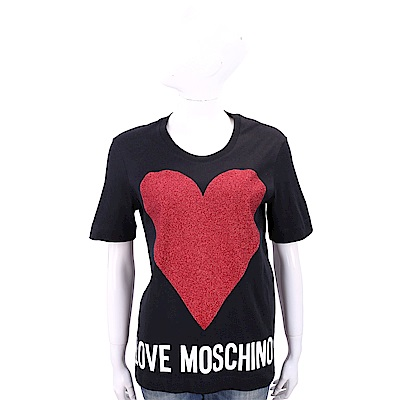 LOVE MOSCHINO 金蔥愛心圖騰黑色棉質T恤