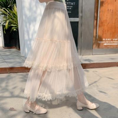 La Belleza鬆緊腰層次拼接蛋糕裙蕾絲拼接雪紡百摺雪紡紗裙