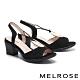 涼鞋 MELROSE 時髦迷人金屬圓釦設計高跟涼鞋-黑 product thumbnail 1