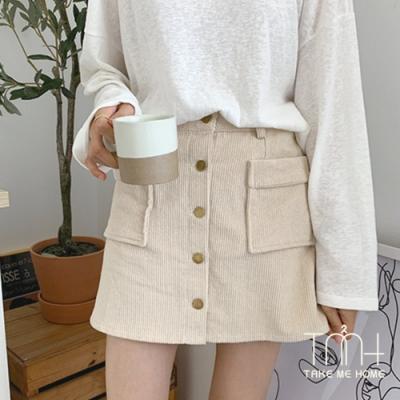 單排扣燈心絨高腰短裙-2色-TMH