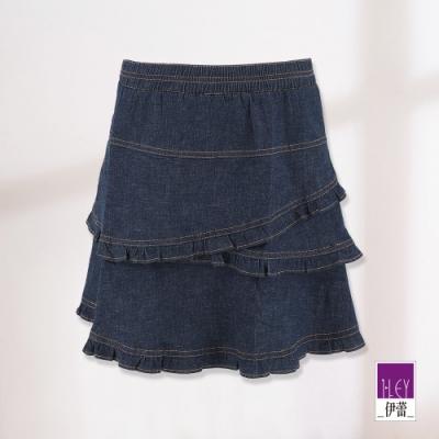 ILEY伊蕾 荷葉層次交叉短版褲裙(藍)