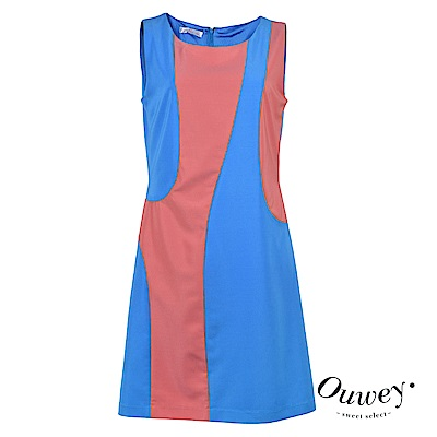 OUWEY歐薇 時尚亮感拼色洋裝(藍)
