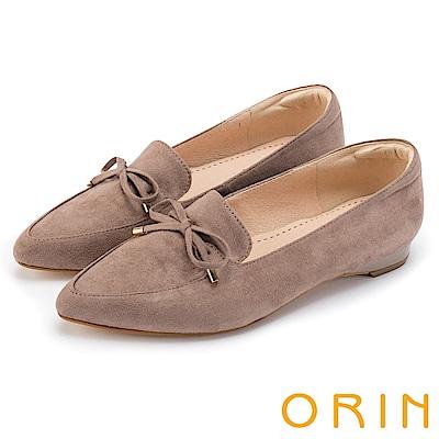 ORIN 舒適樂活 百搭麂皮布面樂福平底鞋-可可