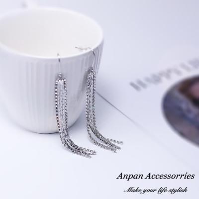 【ANPAN愛扮】韓東大門設計長款水鑽流蘇耳釘式耳環