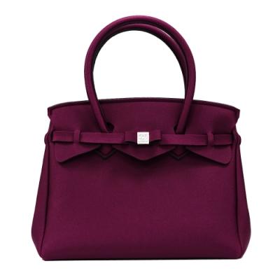 SAVE MY BAG 義大利品牌 MISS PLUS金屬感升級版 梅紅超輕量拉鍊托特包