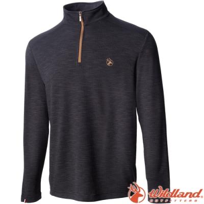 Wildland 荒野 0A72608-93深灰色 男彈性雙色立領長袖半門襟上衣