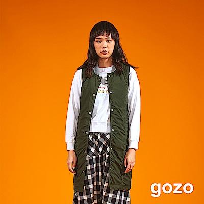 gozo 羅紋小立領素面長版背心外套(二色)