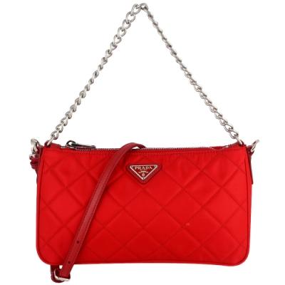 PRADA 紅色菱格刺繡尼龍皮飾邊兩用手提/斜背包