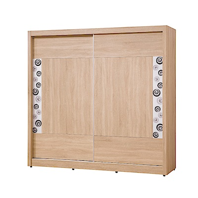 文創集 雪莉6.8尺推門衣櫃(拉合式層格+穿衣鏡+抽屜)-204.5x60x200cm免組