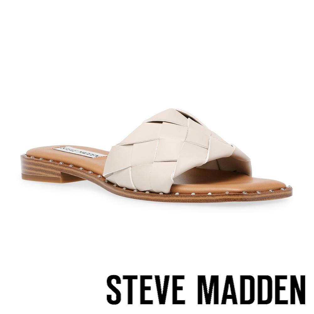 STEVE MADDEN-TWISTIE 寬編織平底拖鞋-米杏色