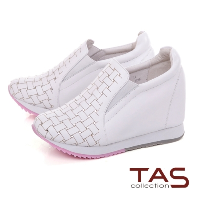 TAS水鑽編織格紋素面內增高休閒鞋–街頭白