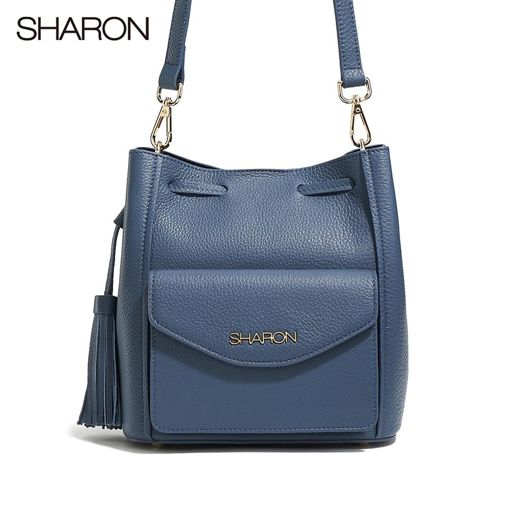 【SHARON 雪恩】頭層牛皮Betty流蘇束口方形桶包(藍色33039BR)