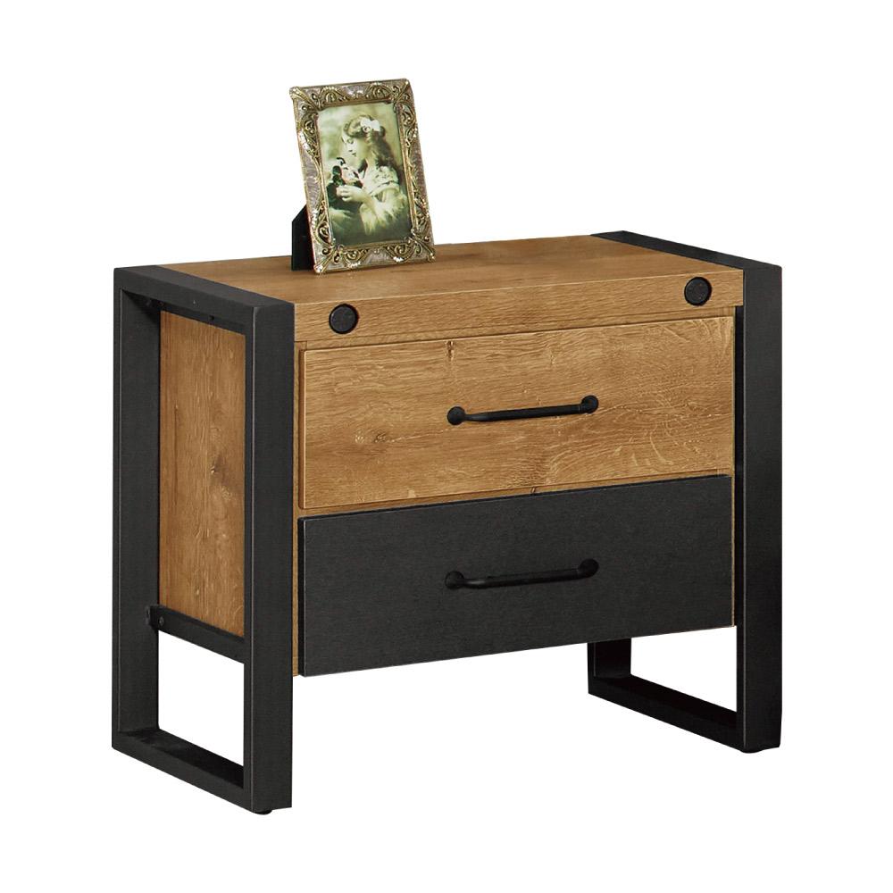 文創集 艾亞倫時尚1.7尺木紋床頭櫃/收納櫃-52x40x48cm-免組
