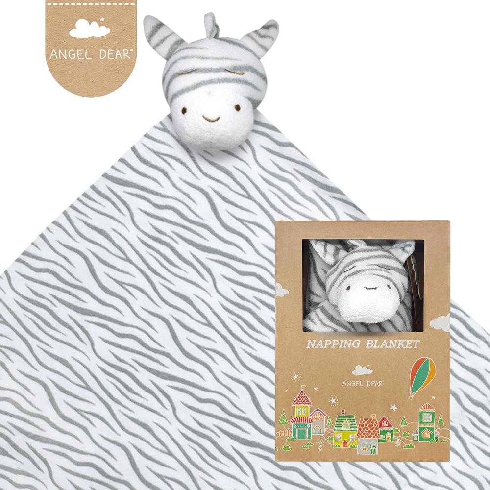 美國 Angel Dear 大頭動物嬰兒毛毯禮盒版 (黑白斑馬)