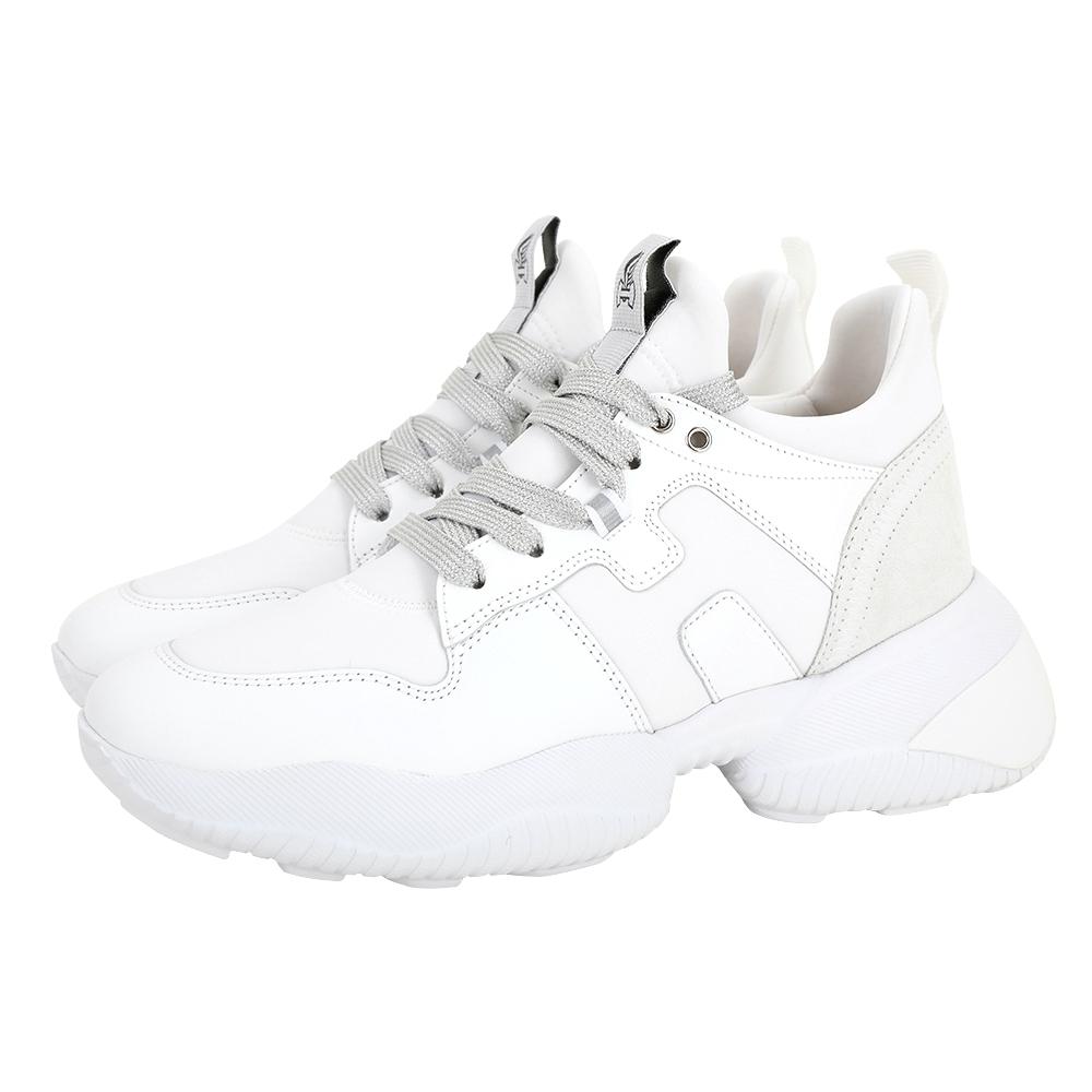 HOGAN H487 H 牛皮繫帶運動鞋 老爹鞋(白色)